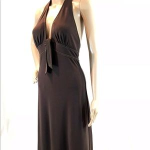 Brown halter dress size medium. Bcbgmaxazria
